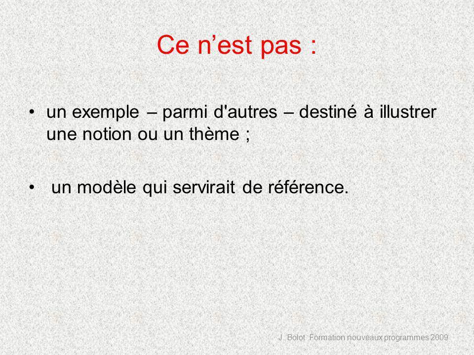 Ce nest pas : un exemple – parmi d autres – destiné à illustrer une notion ou un thème ; un modèle qui servirait de référence.