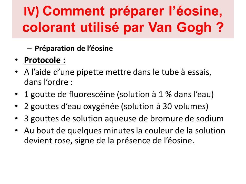 IV) Comment préparer léosine, colorant utilisé par Van Gogh ? – Préparation de léosine Protocole : A laide dune pipette mettre dans le tube à essais,