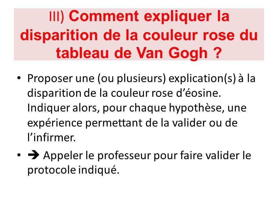 III) Comment expliquer la disparition de la couleur rose du tableau de Van Gogh ? Proposer une (ou plusieurs) explication(s) à la disparition de la co