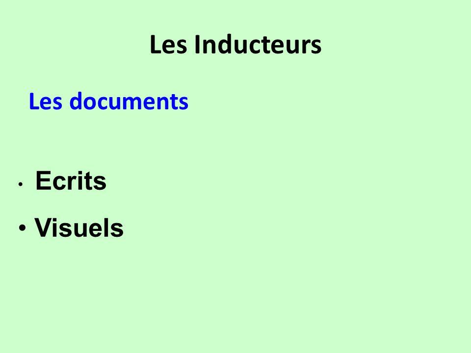 Les Inducteurs Les documents Ecrits Visuels