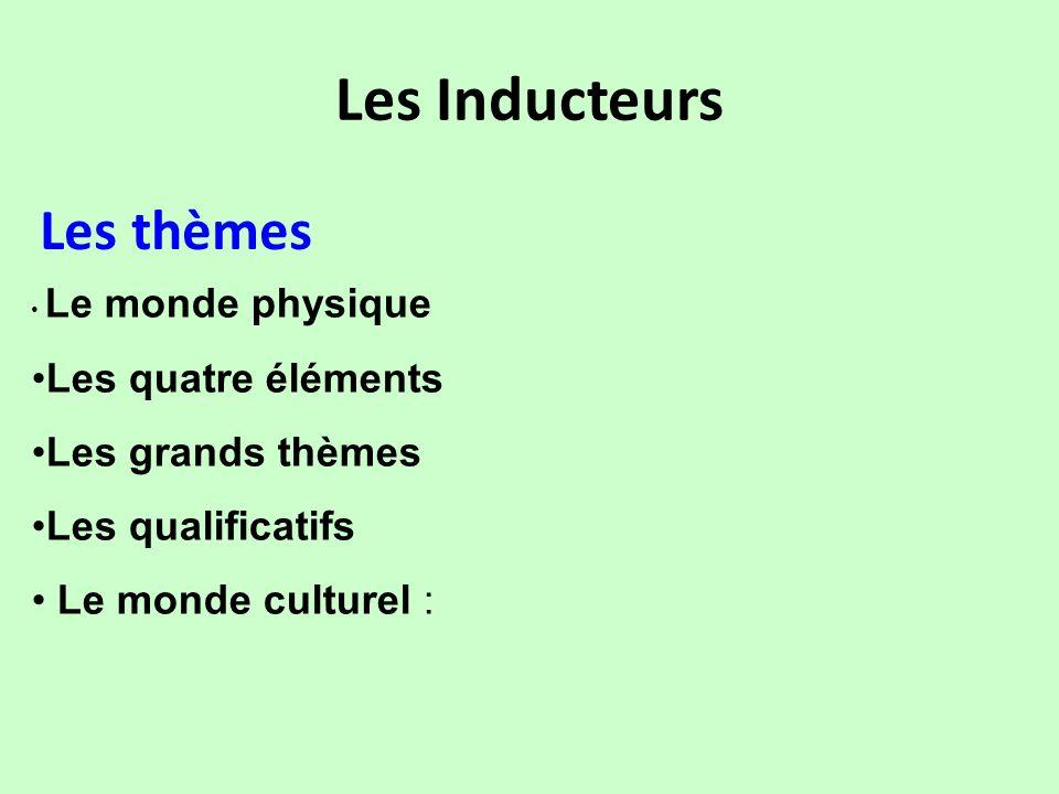 Les Inducteurs Les thèmes Le monde physique Les quatre éléments Les grands thèmes Les qualificatifs Le monde culturel :