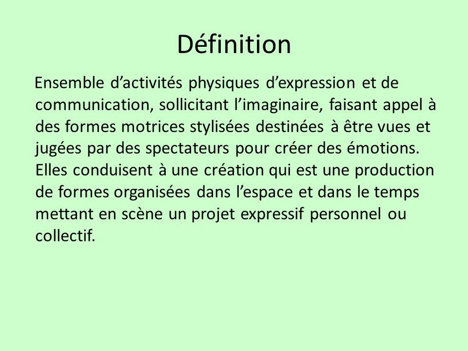 Définition Ensemble dactivités physiques dexpression et de communication, sollicitant limaginaire, faisant appel à des formes motrices stylisées desti