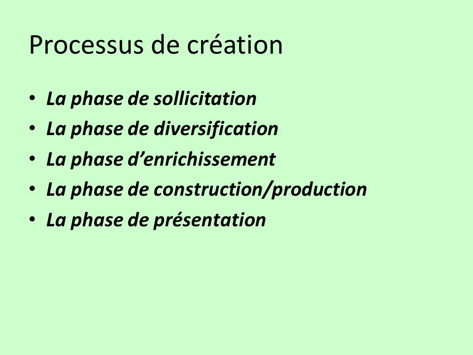 La phase de sollicitation La phase de diversification La phase denrichissement La phase de construction/production La phase de présentation