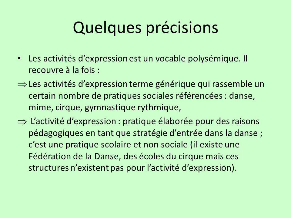 Quelques précisions Les activités dexpression est un vocable polysémique. Il recouvre à la fois : Les activités dexpression terme générique qui rassem