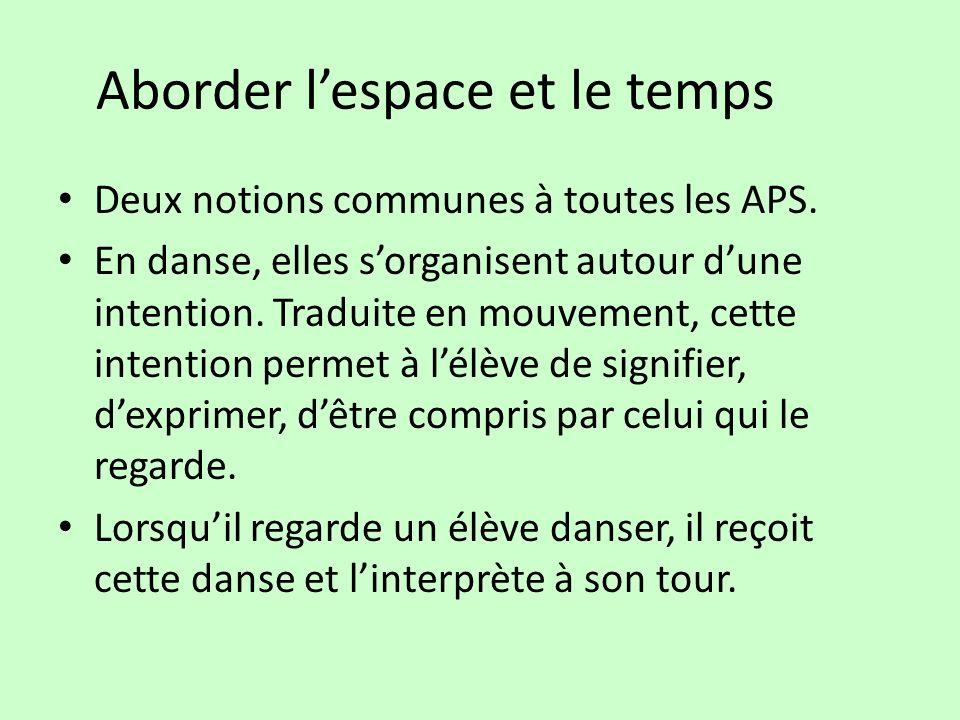 Aborder lespace et le temps Deux notions communes à toutes les APS. En danse, elles sorganisent autour dune intention. Traduite en mouvement, cette in