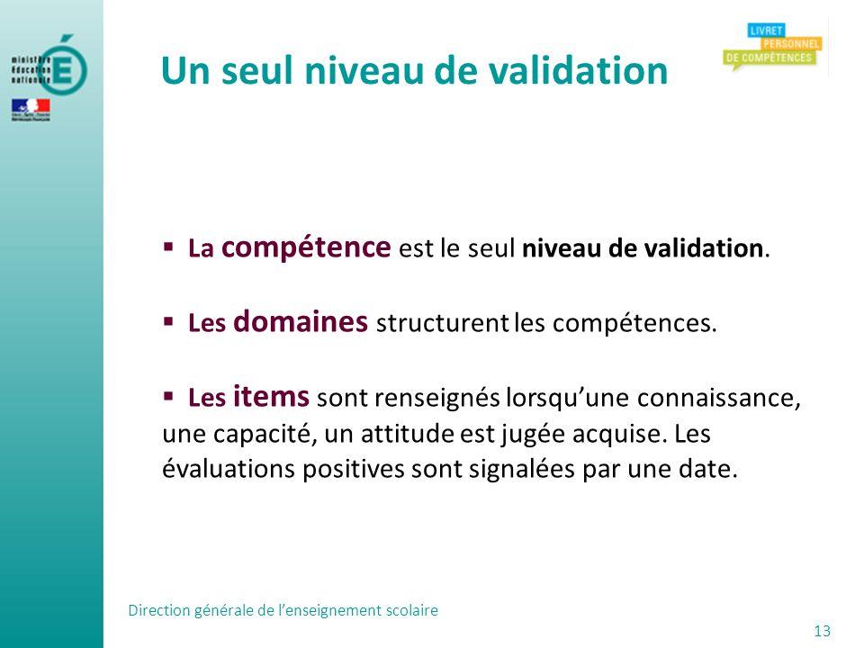 Direction générale de lenseignement scolaire 13 La compétence est le seul niveau de validation. Les domaines structurent les compétences. Les items so