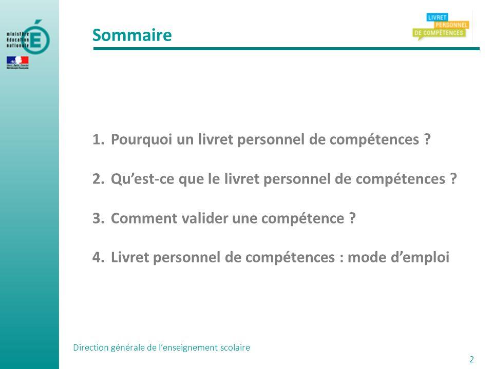 Sommaire 1.Pourquoi un livret personnel de compétences ? 2.Quest-ce que le livret personnel de compétences ? 3.Comment valider une compétence ? 4.Livr