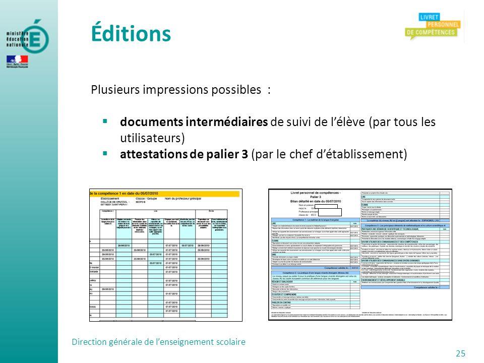Éditions Plusieurs impressions possibles : documents intermédiaires de suivi de lélève (par tous les utilisateurs) attestations de palier 3 (par le ch