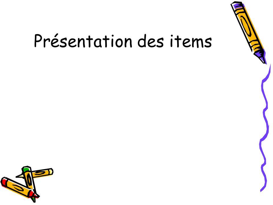 Présentation des items