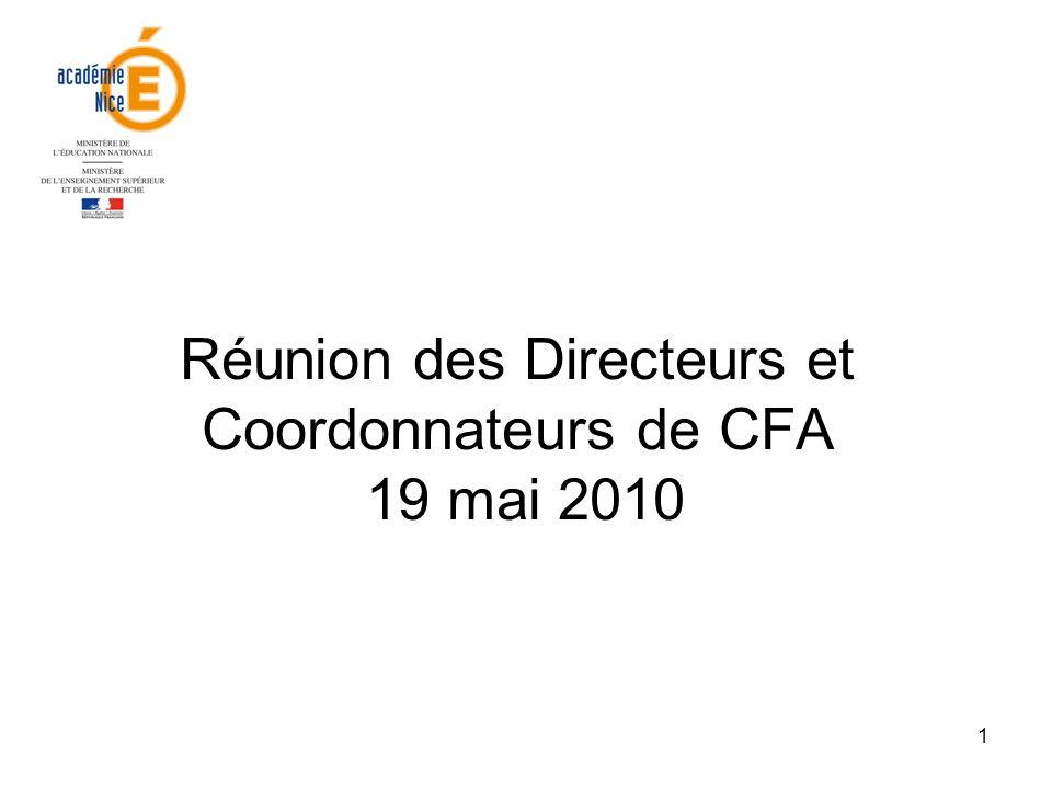 1 Réunion des Directeurs et Coordonnateurs de CFA 19 mai 2010
