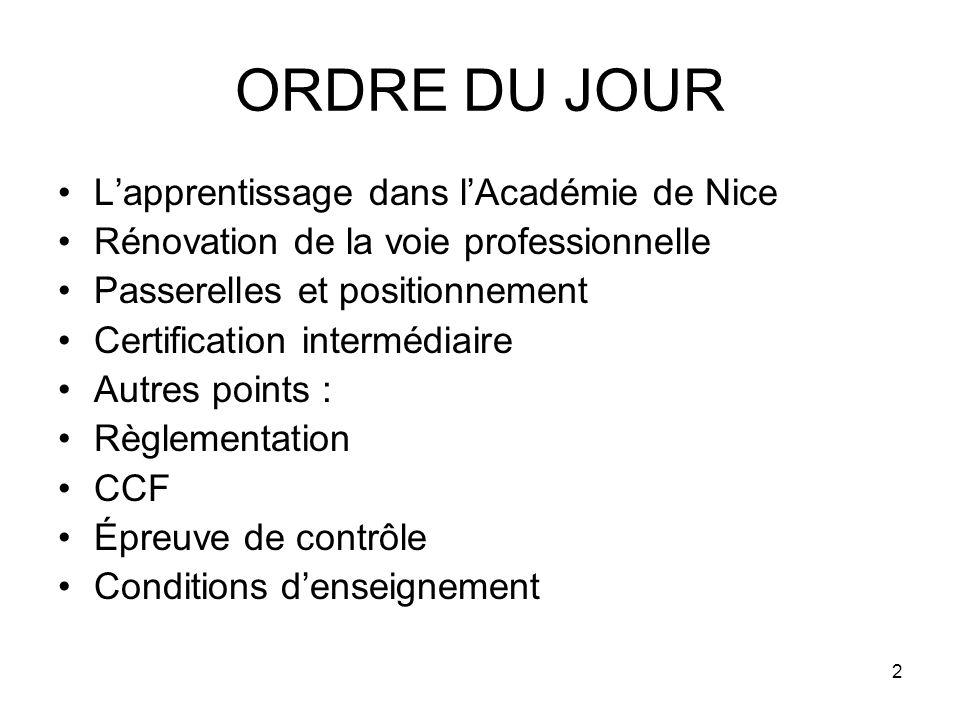 2 ORDRE DU JOUR Lapprentissage dans lAcadémie de Nice Rénovation de la voie professionnelle Passerelles et positionnement Certification intermédiaire