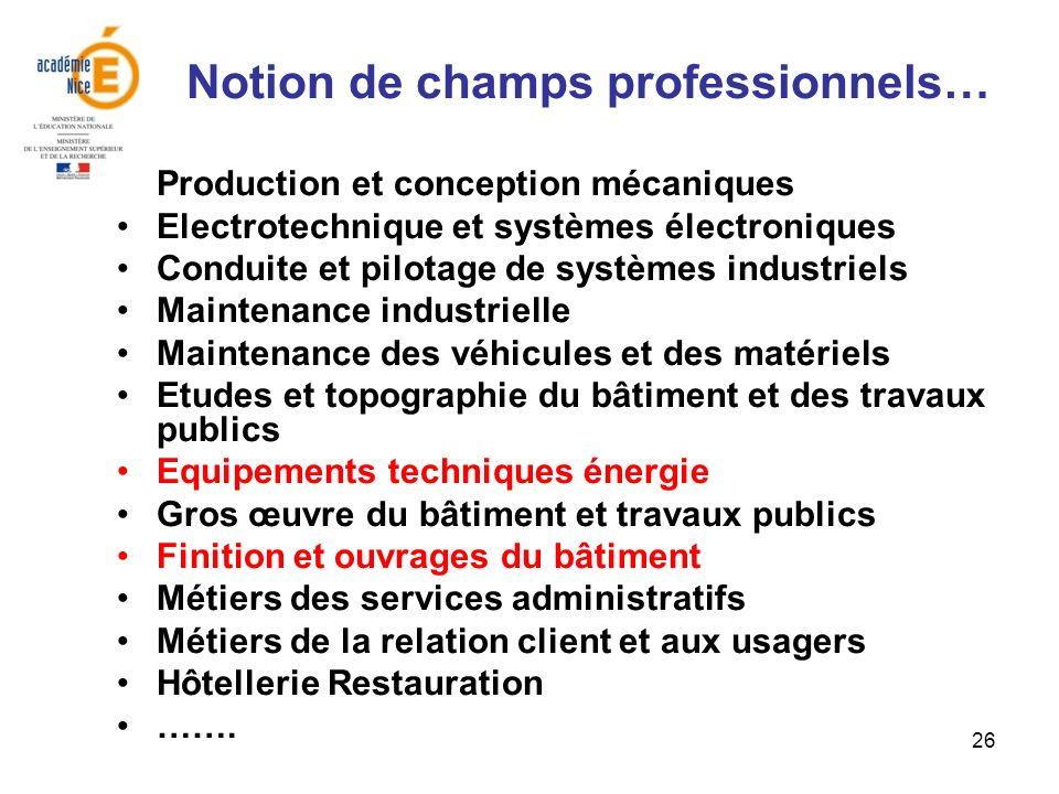 26 Notion de champs professionnels… Production et conception mécaniques Electrotechnique et systèmes électroniques Conduite et pilotage de systèmes in
