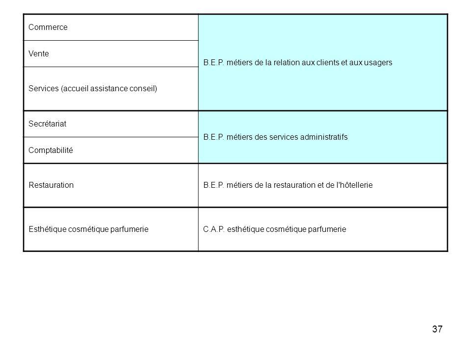 37 Commerce B.E.P. métiers de la relation aux clients et aux usagers Vente Services (accueil assistance conseil) Secrétariat B.E.P. métiers des servic