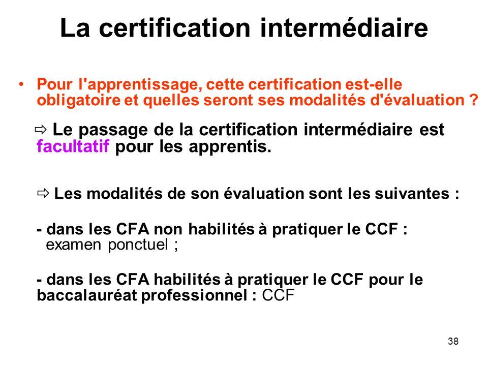 38 La certification intermédiaire Pour l'apprentissage, cette certification est-elle obligatoire et quelles seront ses modalités d'évaluation ? Le pas