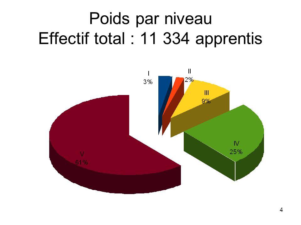 4 Poids par niveau Effectif total : 11 334 apprentis