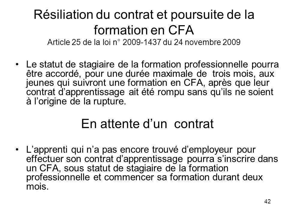 42 Résiliation du contrat et poursuite de la formation en CFA Article 25 de la loi n° 2009-1437 du 24 novembre 2009 Le statut de stagiaire de la forma