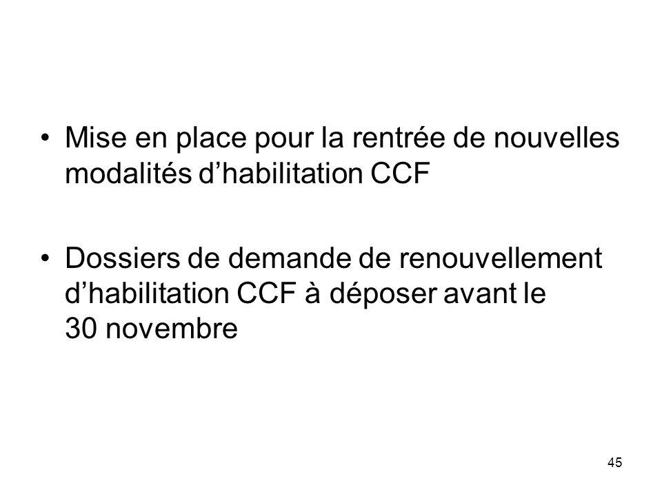 45 Mise en place pour la rentrée de nouvelles modalités dhabilitation CCF Dossiers de demande de renouvellement dhabilitation CCF à déposer avant le 3
