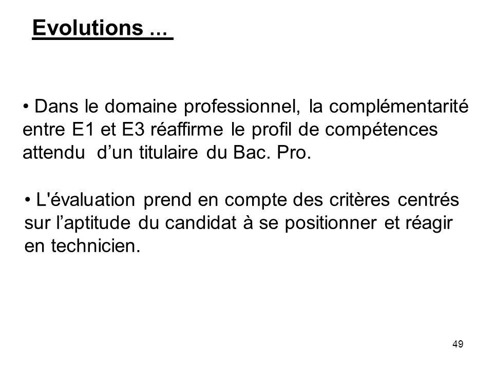 49 Evolutions … Dans le domaine professionnel, la complémentarité entre E1 et E3 réaffirme le profil de compétences attendu dun titulaire du Bac. Pro.