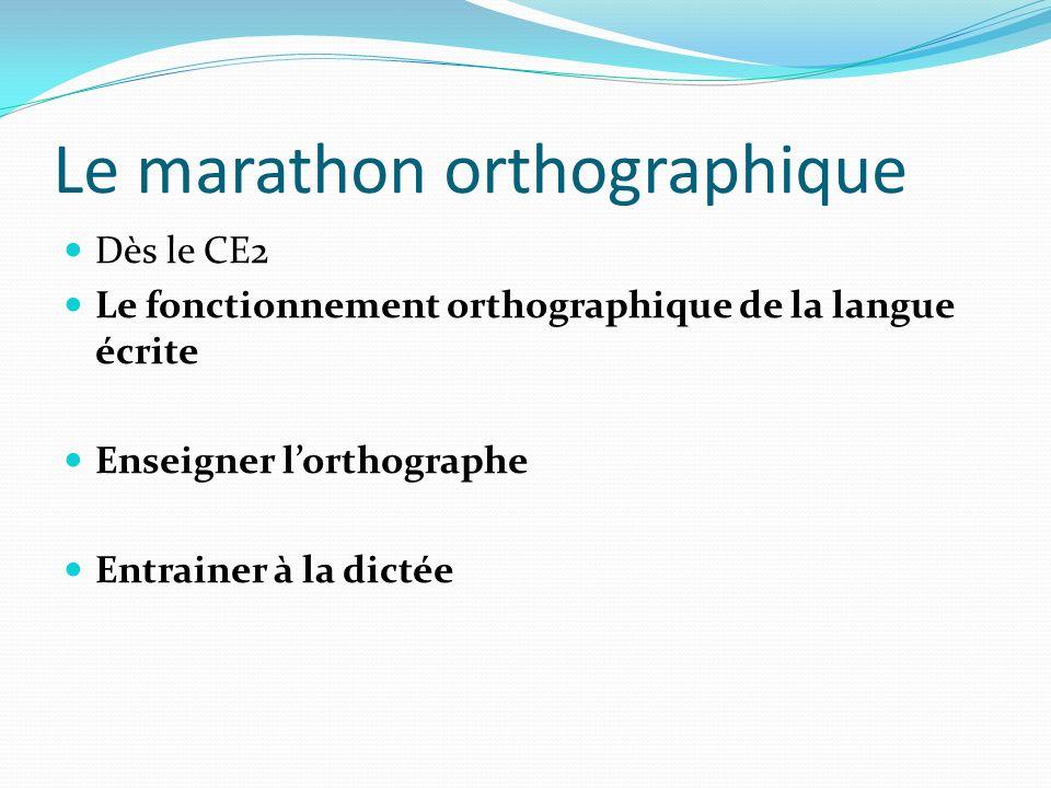 Le marathon orthographique Dès le CE2 Le fonctionnement orthographique de la langue écrite Enseigner lorthographe Entrainer à la dictée