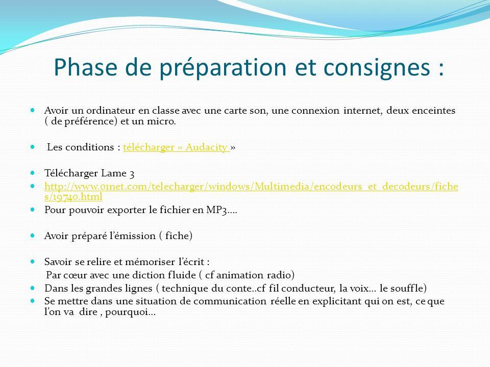 Phase de préparation et consignes : Avoir un ordinateur en classe avec une carte son, une connexion internet, deux enceintes ( de préférence) et un mi