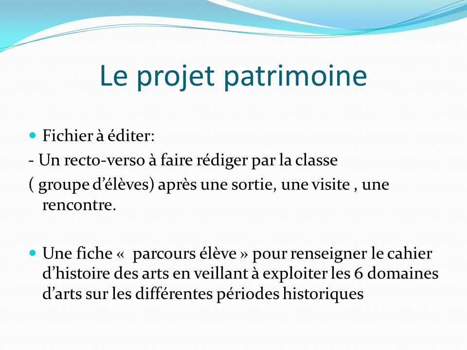 Le projet patrimoine Fichier à éditer: - Un recto-verso à faire rédiger par la classe ( groupe délèves) après une sortie, une visite, une rencontre. U