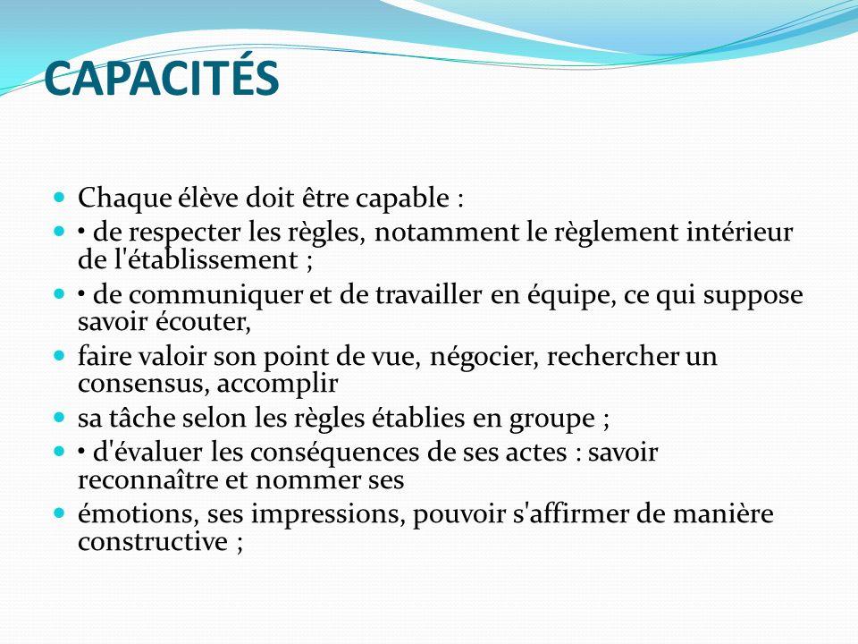 CAPACITÉS Chaque élève doit être capable : de respecter les règles, notamment le règlement intérieur de l'établissement ; de communiquer et de travail