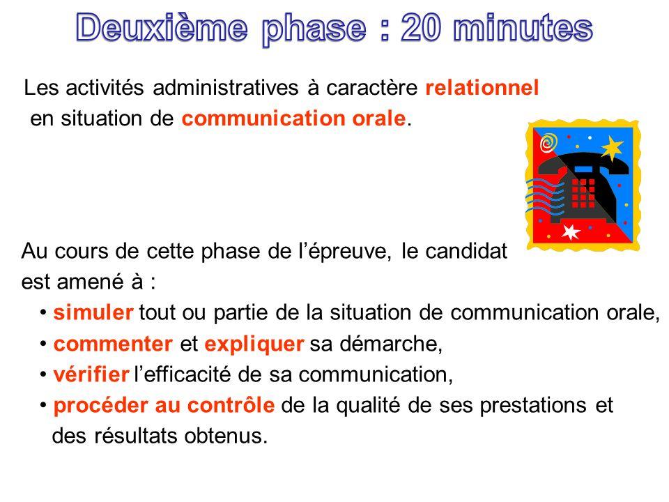 Les activités administratives à caractère relationnel en situation de communication orale. Au cours de cette phase de lépreuve, le candidat est amené