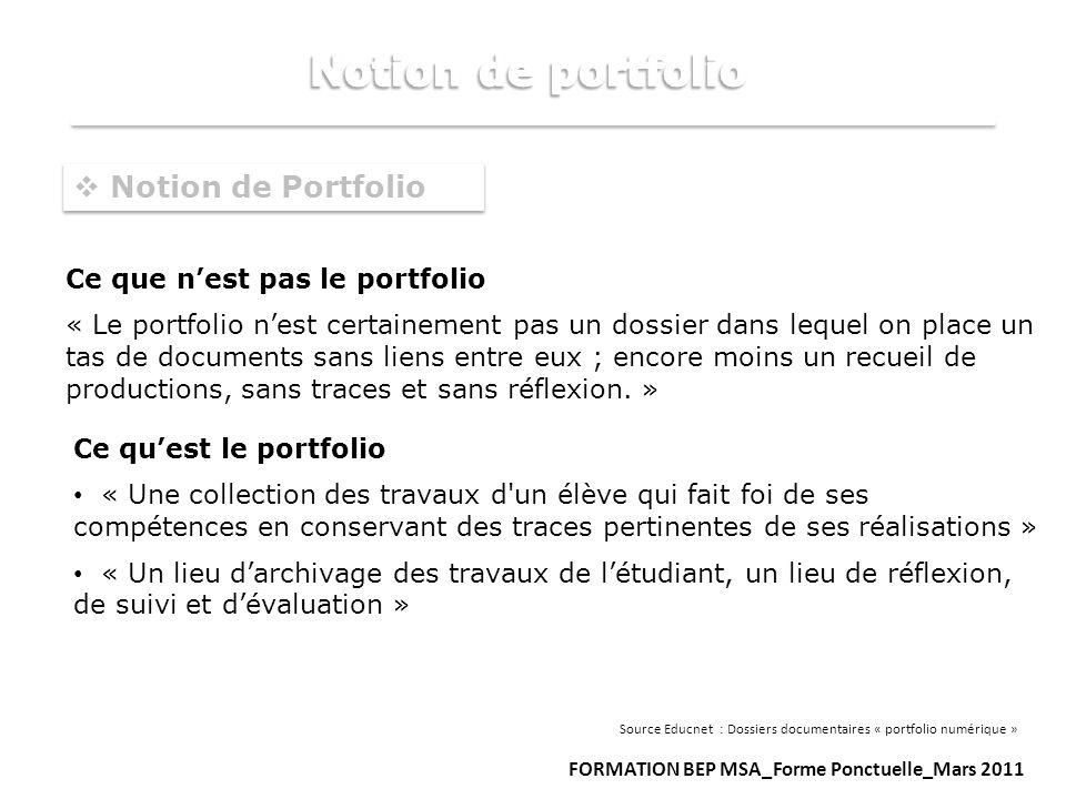 Notion de Portfolio Ce que nest pas le portfolio « Le portfolio nest certainement pas un dossier dans lequel on place un tas de documents sans liens e
