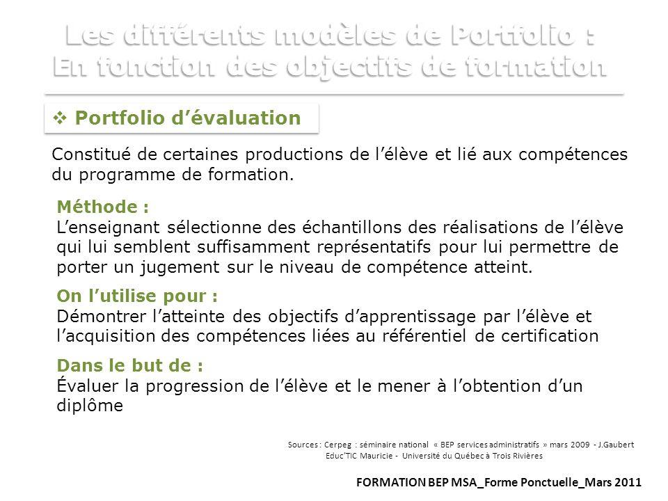 Portfolio dévaluation Constitué de certaines productions de lélève et lié aux compétences du programme de formation. Méthode : Lenseignant sélectionne