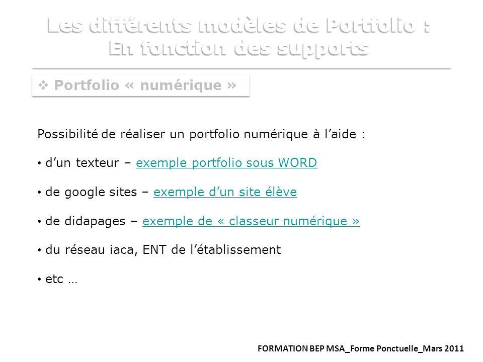Portfolio « numérique » Possibilité de réaliser un portfolio numérique à laide : dun texteur – exemple portfolio sous WORDexemple portfolio sous WORD