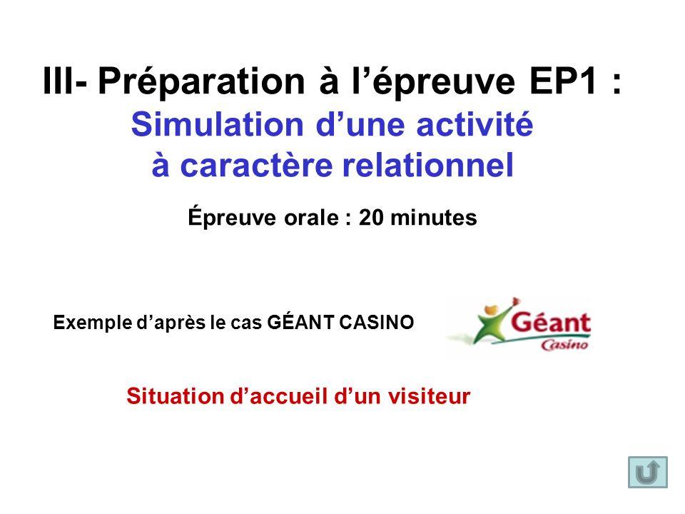 III- Préparation à lépreuve EP1 : Simulation dune activité à caractère relationnel Épreuve orale : 20 minutes Exemple daprès le cas GÉANT CASINO Situa