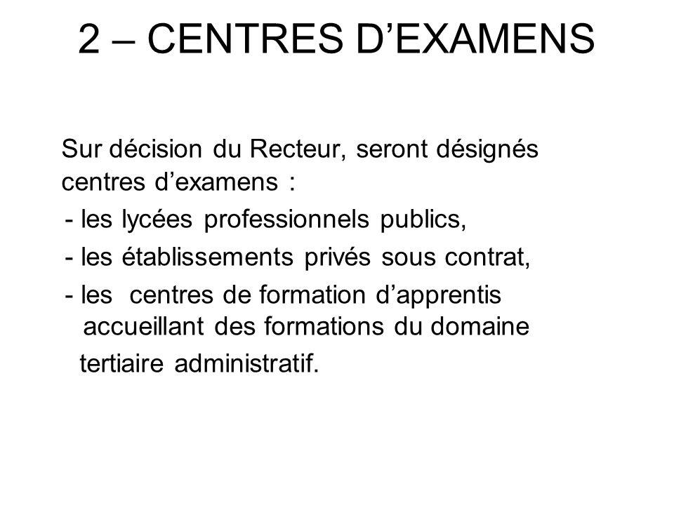 2 – CENTRES DEXAMENS Sur décision du Recteur, seront désignés centres dexamens : - les lycées professionnels publics, - les établissements privés sous