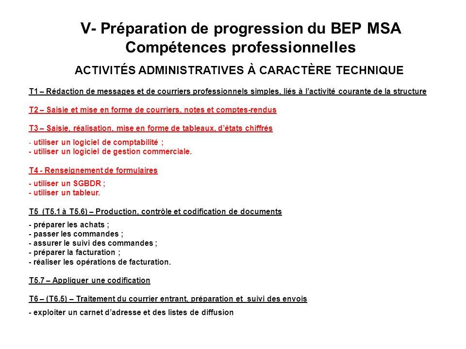 V- Préparation de progression du BEP MSA Compétences professionnelles ACTIVITÉS ADMINISTRATIVES À CARACTÈRE TECHNIQUE T1 – Rédaction de messages et de