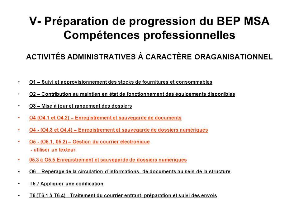 V- Préparation de progression du BEP MSA Compétences professionnelles ACTIVITÉS ADMINISTRATIVES À CARACTÈRE ORAGANISATIONNEL O1 – Suivi et approvision