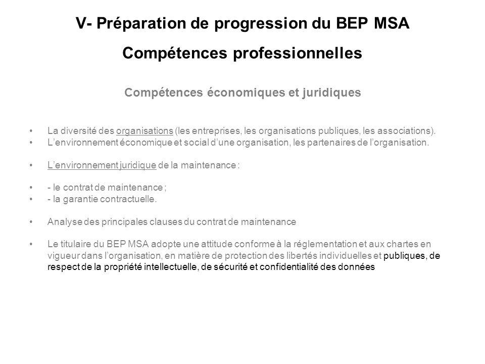 V- Préparation de progression du BEP MSA Compétences professionnelles Compétences économiques et juridiques La diversité des organisations (les entrep