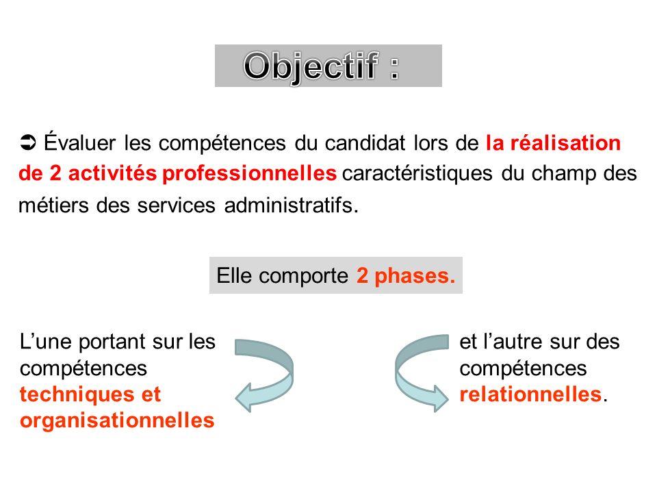 Évaluer les compétences du candidat lors de la réalisation de 2 activités professionnelles caractéristiques du champ des métiers des services administ