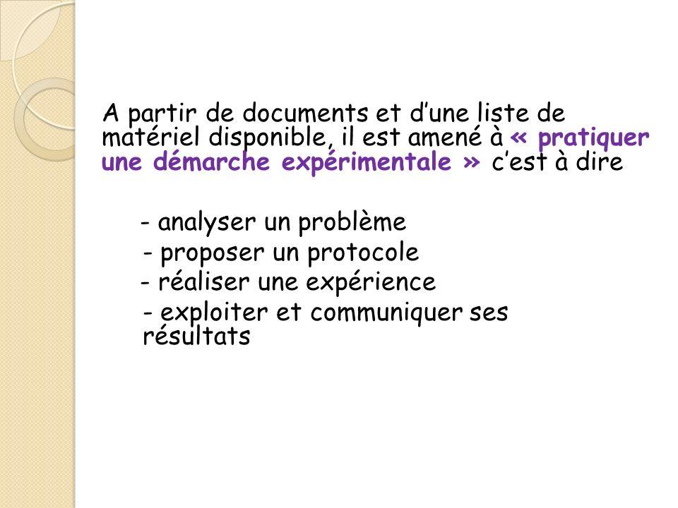 A partir de documents et dune liste de matériel disponible, il est amené à « pratiquer une démarche expérimentale » cest à dire - analyser un problème