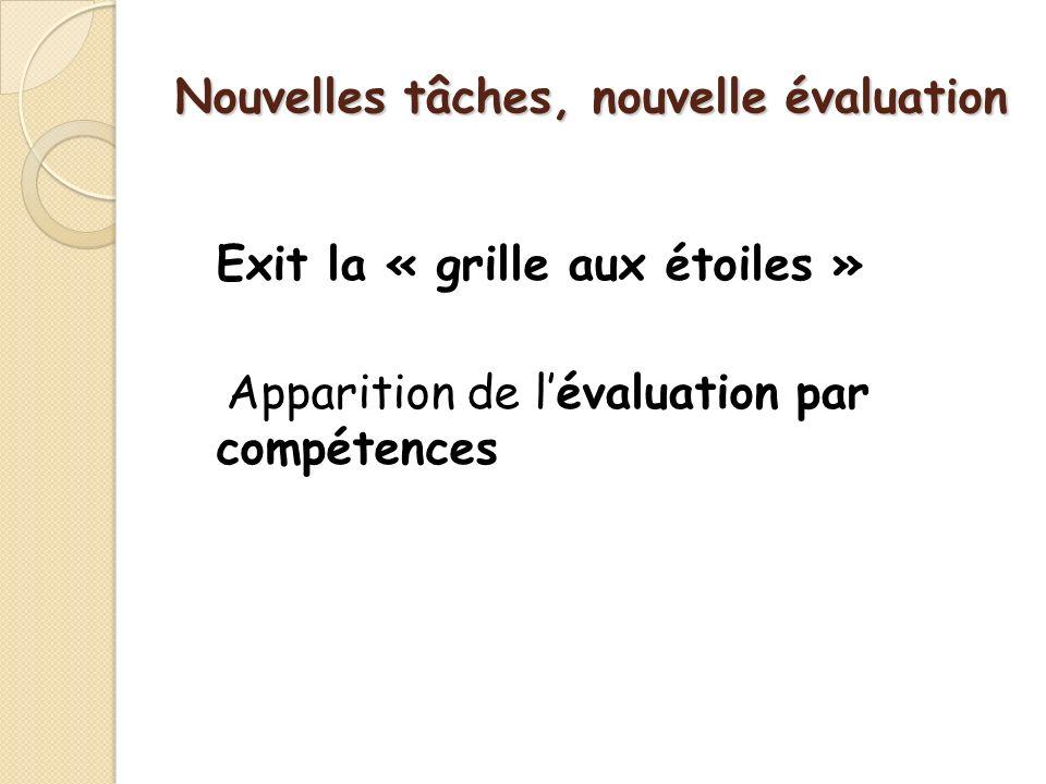 Nouvelles tâches, nouvelle évaluation Exit la « grille aux étoiles » Apparition de lévaluation par compétences
