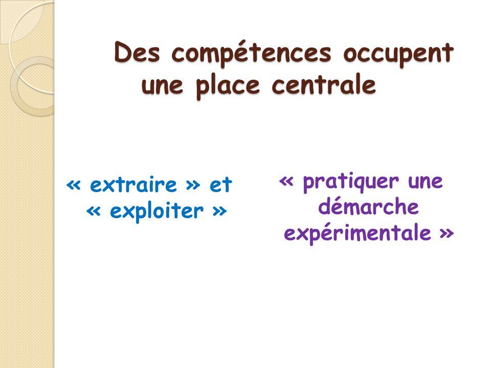 Des compétences occupent une place centrale « extraire » et « exploiter » « pratiquer une démarche expérimentale »