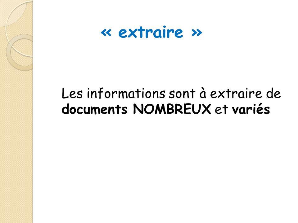 Les informations sont à extraire de documents NOMBREUX et variés « extraire »