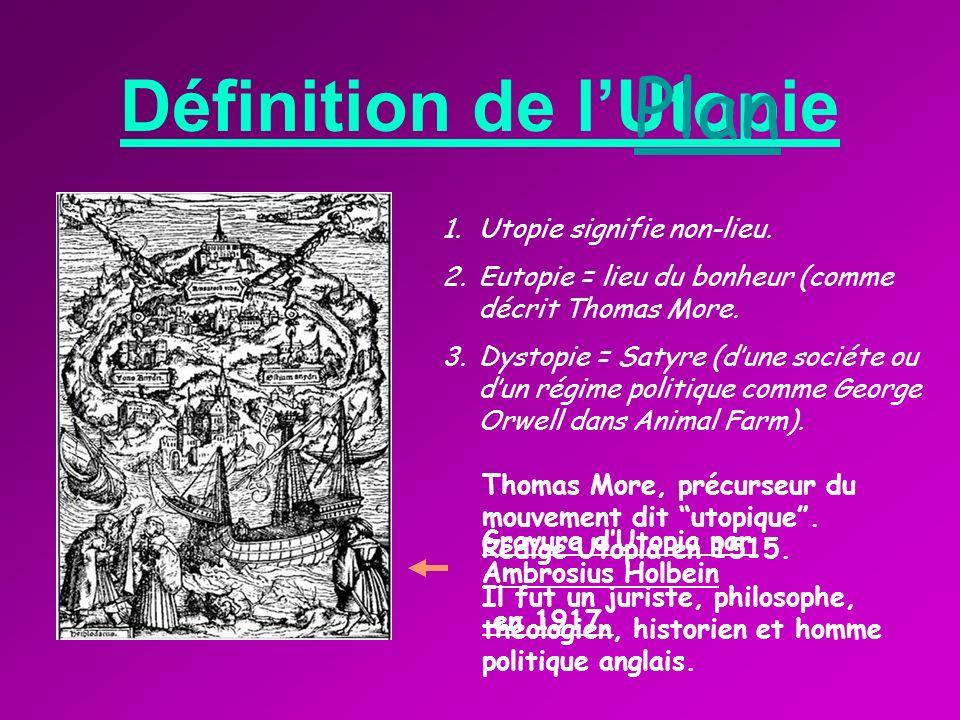 Définition de lUtopie 1.Utopie signifie non-lieu.