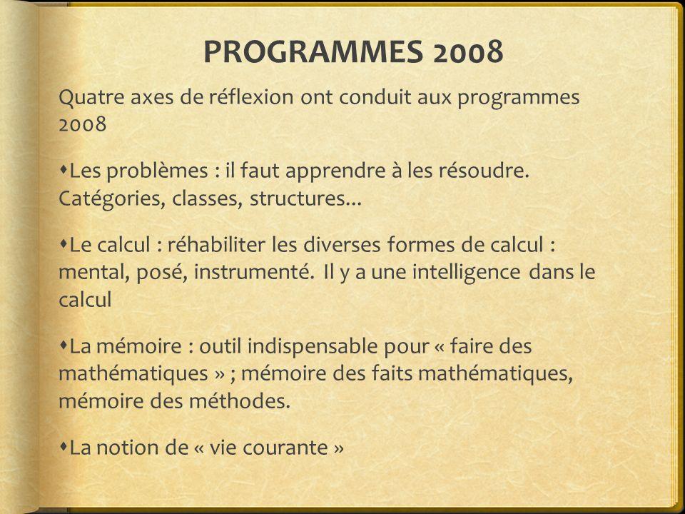 PROGRAMMES 2008 Quatre axes de réflexion ont conduit aux programmes 2008 Les problèmes : il faut apprendre à les résoudre. Catégories, classes, struct