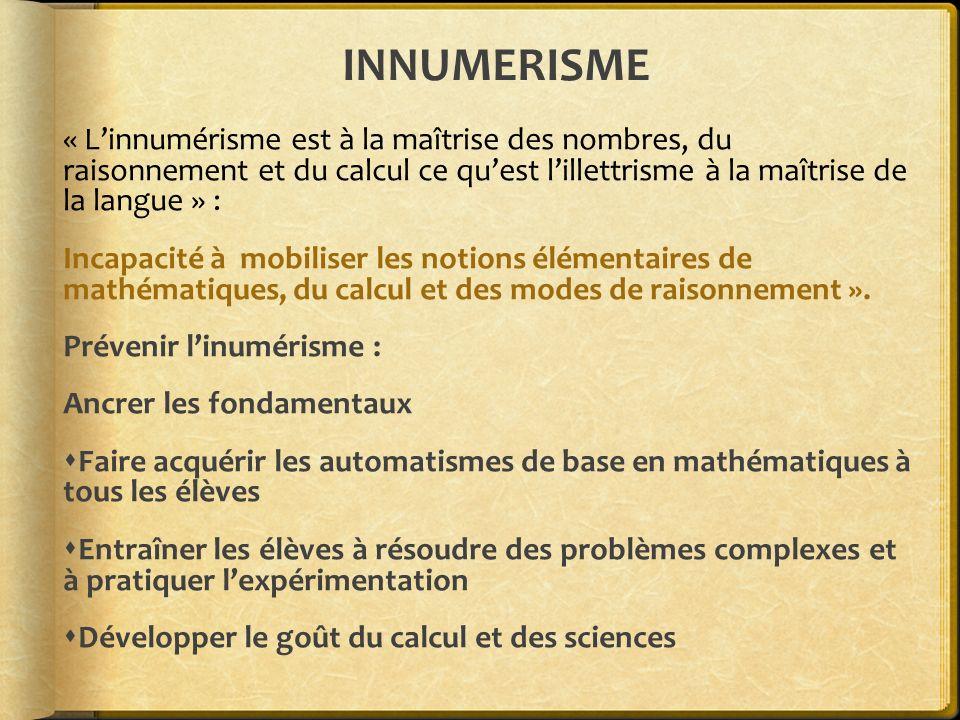 INNUMERISME « Linnumérisme est à la maîtrise des nombres, du raisonnement et du calcul ce quest lillettrisme à la maîtrise de la langue » : Incapacité