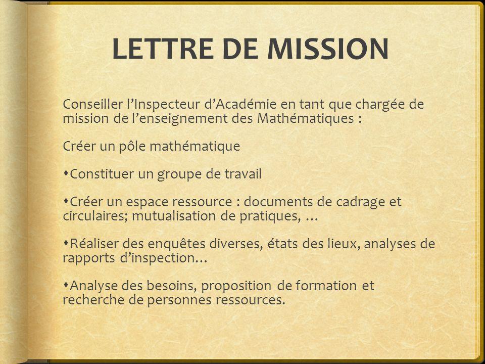 LETTRE DE MISSION Conseiller lInspecteur dAcadémie en tant que chargée de mission de lenseignement des Mathématiques : Créer un pôle mathématique Cons
