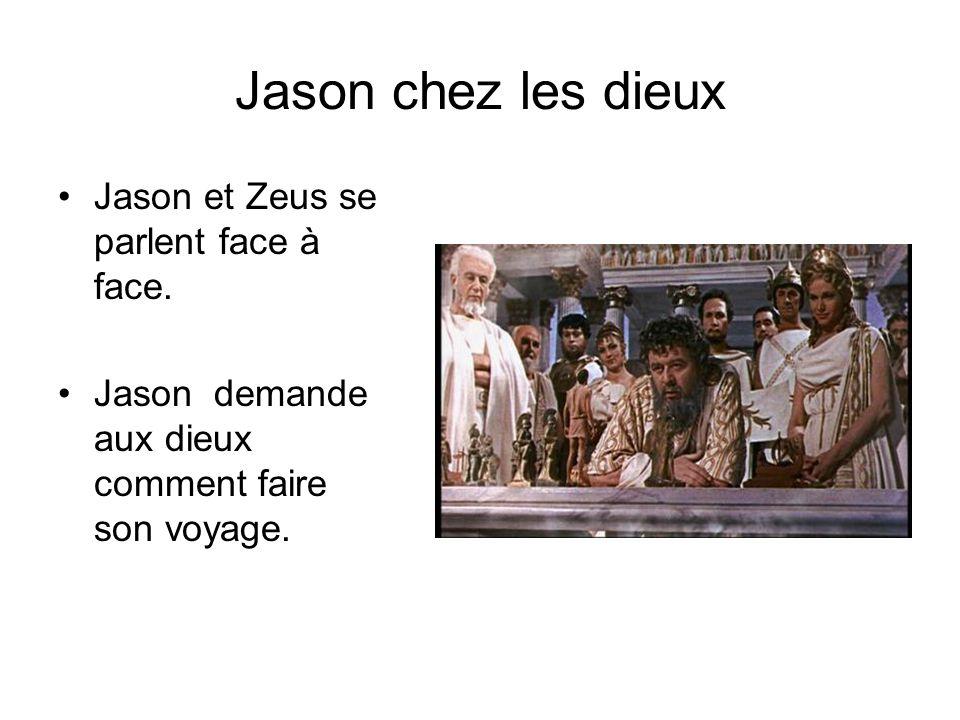 Jason chez les dieux Jason et Zeus se parlent face à face. Jason demande aux dieux comment faire son voyage.