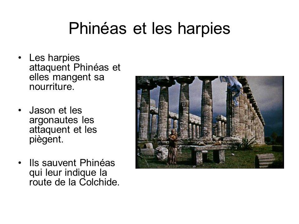 Phinéas et les harpies Les harpies attaquent Phinéas et elles mangent sa nourriture. Jason et les argonautes les attaquent et les piègent. Ils sauvent