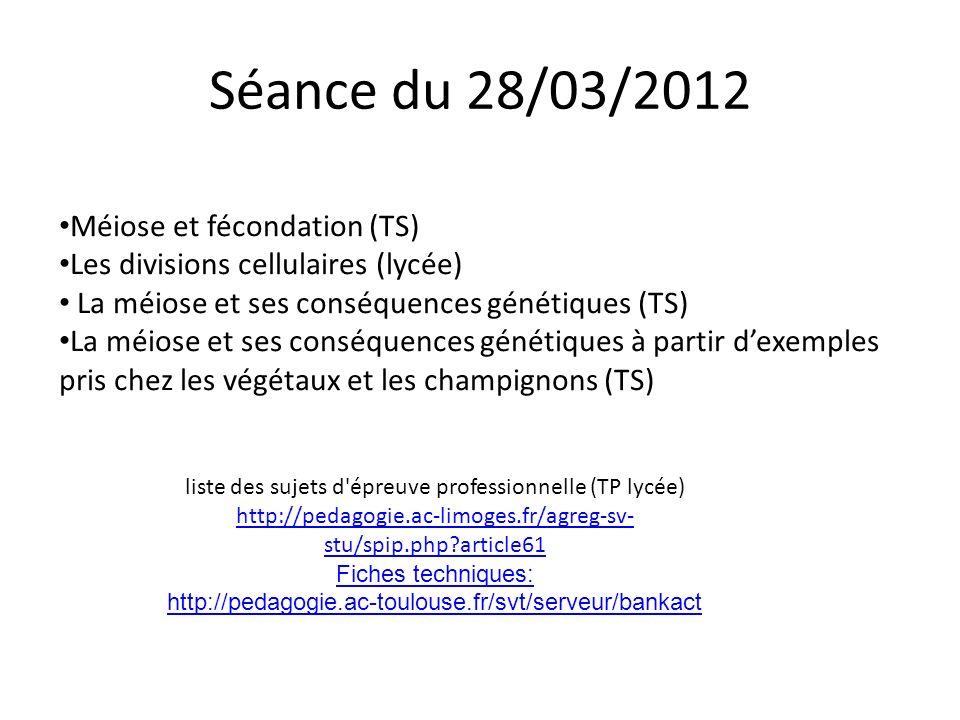 Séance du 28/03/2012 Méiose et fécondation (TS) Les divisions cellulaires (lycée) La méiose et ses conséquences génétiques (TS) La méiose et ses consé