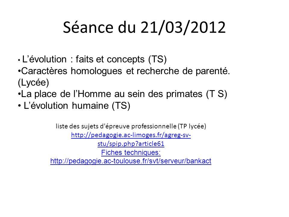 Séance du 21/03/2012 Lévolution : faits et concepts (TS) Caractères homologues et recherche de parenté. (Lycée) La place de lHomme au sein des primate