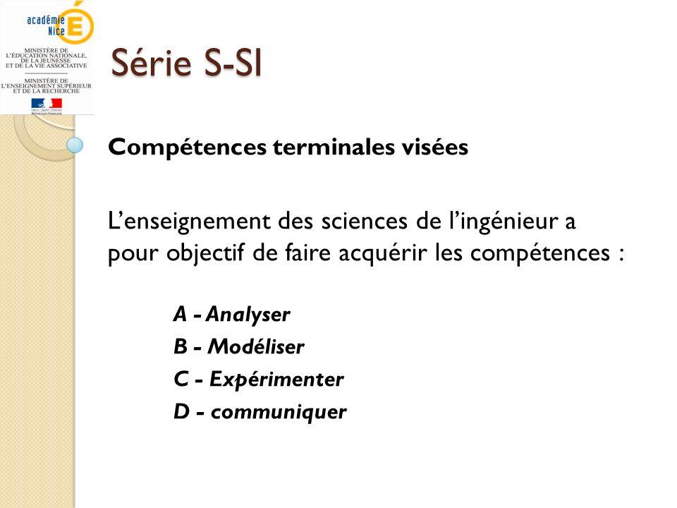 Série S-SI Compétences terminales visées Lenseignement des sciences de lingénieur a pour objectif de faire acquérir les compétences : A - Analyser B -