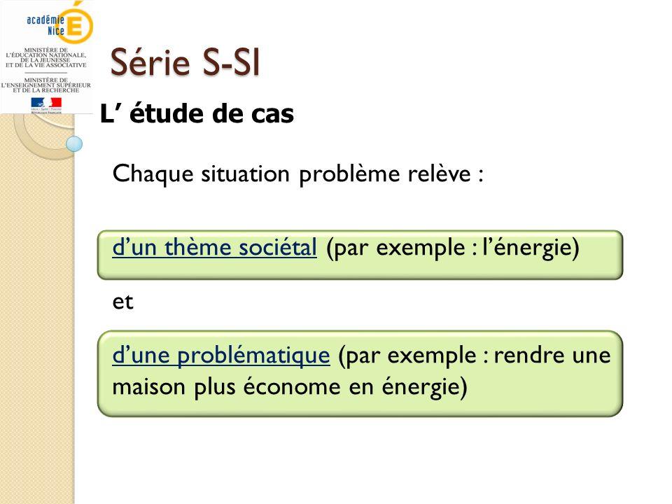 Série S-SI Chaque situation problème relève : dun thème sociétal (par exemple : lénergie) et dune problématique (par exemple : rendre une maison plus